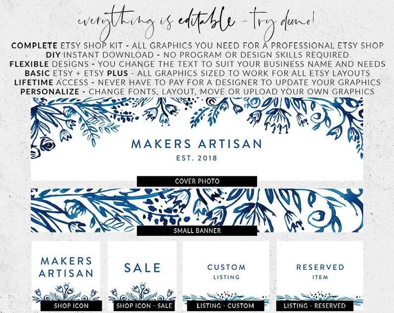 Floral banner set Indigo blue ink Delft blue flower Premade etsy banner Etsy branding Etsy cover photo Blue etsy banner Etsy shop set
