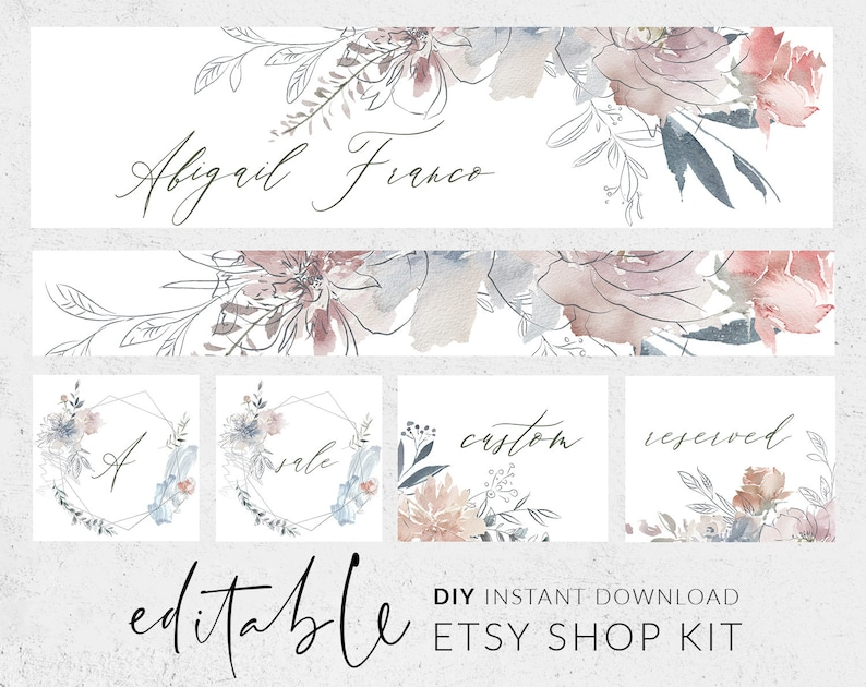 9d09e6dce6f7f Etsy banners, Etsy branding kit, Etsy shop graphics, Cover image, Shop  icon, Botanical line art, Rustic watercolor flowers, Banner download