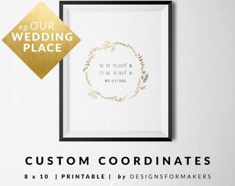 Wedding Printable - Gold Floral Wreath - Latitude Longitude Print - Custom  GPS Coordinates - Anniversary Gift - Unique Wedding Gifts - 4