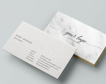Modern business card etsy marble business card calligraphy business card premade business cards minimal luxe chic colourmoves
