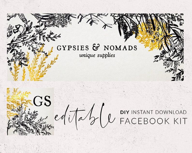 Facebook template, Facebook cover, Fb banner, Facebook graphics, Social  media icon, Gold social media, Floral line art Calligraphy flower 14