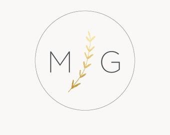 Circle logo, Minimalist logo, Instant logo, Photoshop template, Wedding monogram logo, Initials logo, Gold wreath logo, Instant logo DIY