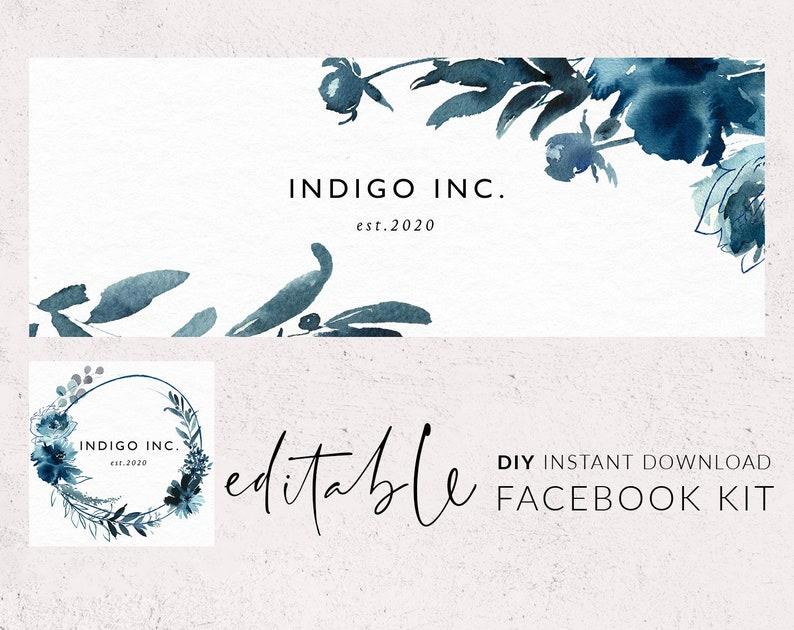 Facebook cover template, Facebook banner, Facebook logo, Facebook template,  Indigo watercolor flowers, Navy, Social media branding, FB DIY