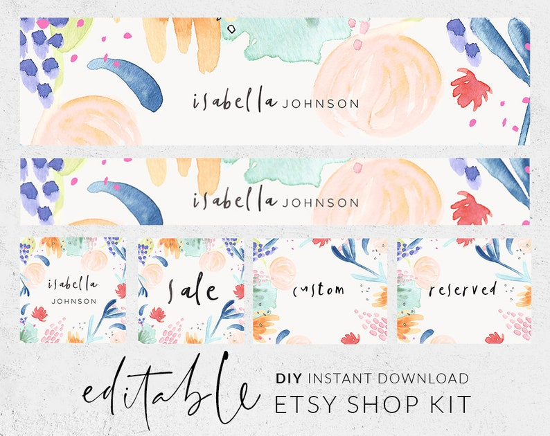 8de9a32c8bdac Etsy banner and icon, Watercolor Etsy shop graphics, Etsy shop design,  Premade banner, Baby branding, Handwritten font, Abstract flowers