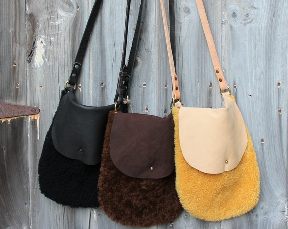 Shearling Leather Crossbody Bags