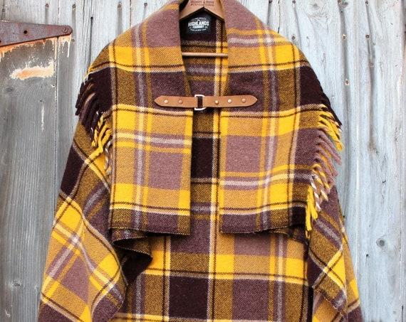 Wool Plaid Poncho