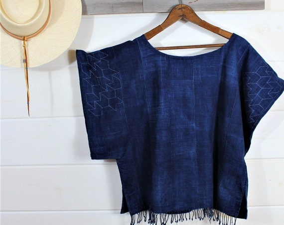 Sashiko Stitch Indigo Top