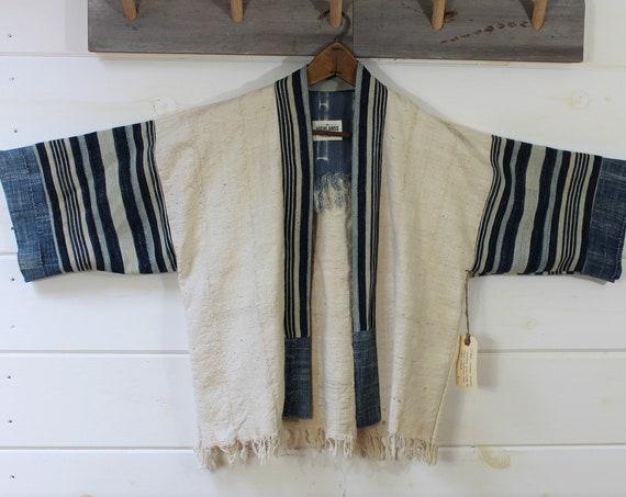 Natural + Indigo Mud Cloth Kimono