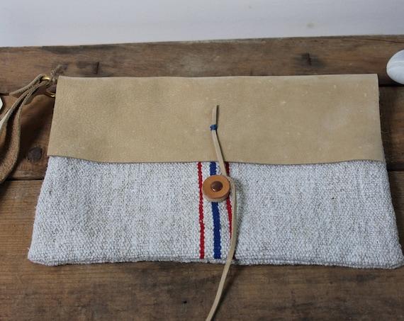 Stripe Grain Sack + Leather Pouch