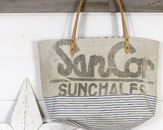 Grain Sack Ticking Tote
