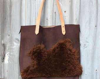 f1a5f69998faf1 Shearling + Leather Tote