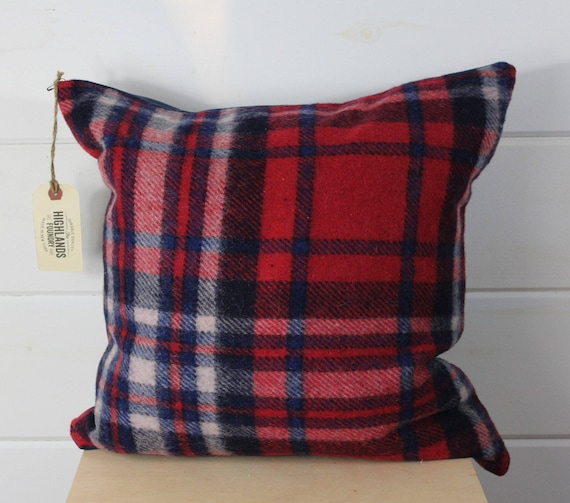 Wool Red Plaid Pillow Cover