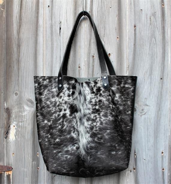 Black Cowhide Leather Tote