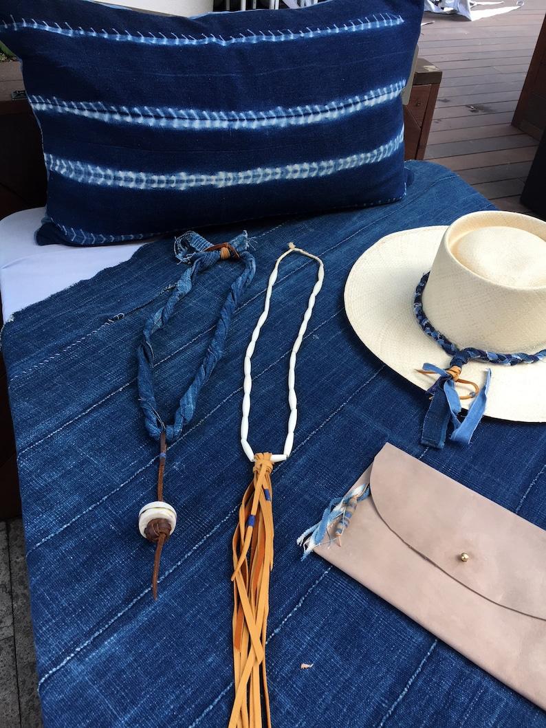 Deerskin tassel Necklace African bead