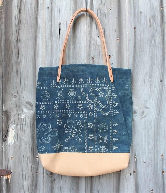 Indigo Batik + Leather Tote