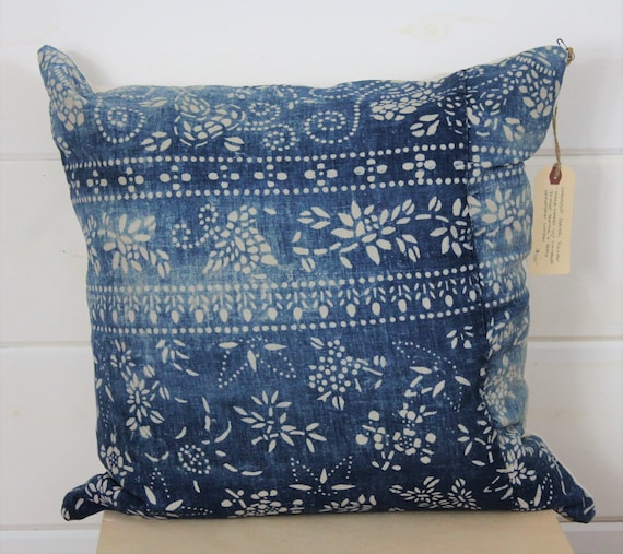 Indigo Chinese Batik Pillow
