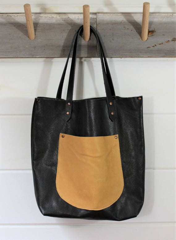 Black Leather + Deerskin Tote