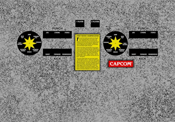 Street Fighter 2 Champion Edition Arcade Control Panel Overlay Etsy