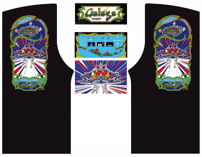 GALAGA Arcade Cabinet Graphics For Reproduction Marquee CPO Side Art  Kickplate