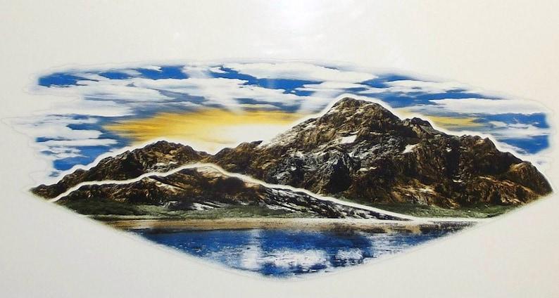 1 RV Trailer Boat Mountain Scene Decal Graphic -714