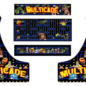 Multicade neon bartop Full//Half Sets Arcade Artwork Stickers Graphics //All Sizes