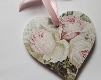 Shabby Chic Pink Floral Roses Wooden Heart 8cm