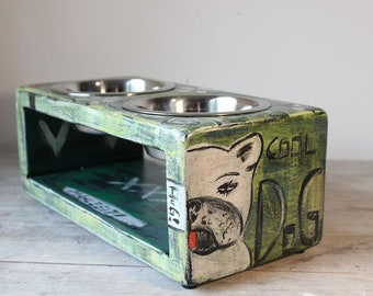 Dogstation LIBRA curry smile size dog feeder L elevated double tap non-slip quiet dog bar wipeful woodpottery feeding bar