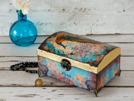 Peacock Jewellery Chest Shabby Chic Jewelry Box Jewellery Chest Mothers Day Birthday Christmas Gift Decoupaged Box Decorative Box