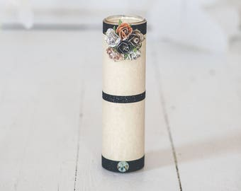 Pale Yellow, Black and multi-colored Floral Candle