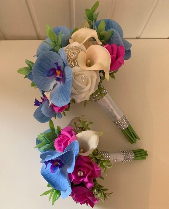 Pink Star Gazer Lily Rose Orchid Flower Shower Diamante Teardrop Wedding Bouquet
