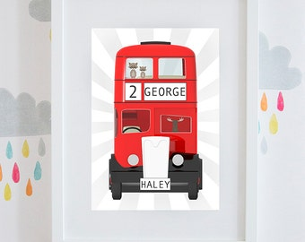 Boys red London double decker bus bedroom gift personalised print available framed or unframed