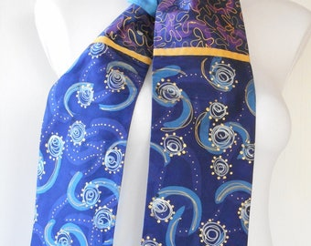 scarf painted blue silk taffeta