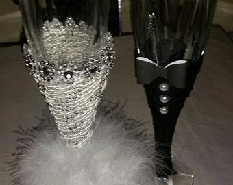 Bride and Groom Custom Glass Set