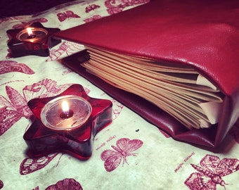 Handmade Red Leather Book of Shadows Grimoire