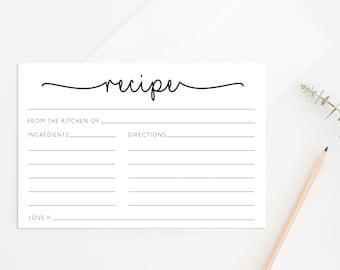 Printable Recipe Cards, Printable Bridal Shower Game, Recipe Cards, Bridal Shower Recipe Cards