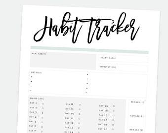Printable Habit Tracker, Resolution Planner, Goal Tracker, Habit Tracker, Goal Digger, Printable Goal Tracker, Printable Planner Sheets