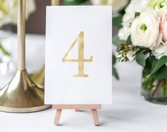 Gold Table Numbers, Printable Table Number Cards, Wedding Table Numbers, Gold Foil Wedding Table Numbers, Gold Party Table Numbers