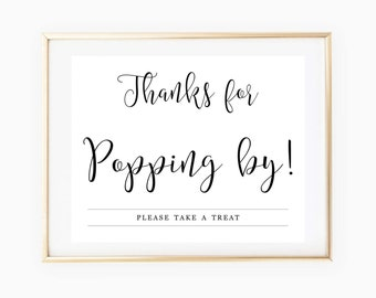 image about Thanks for Popping by Free Printable titled Popcorn bar print Etsy
