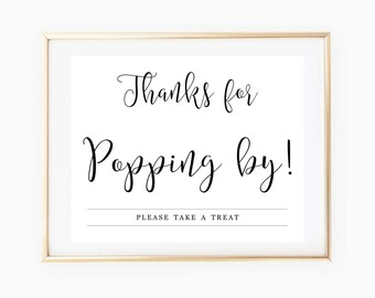 image relating to Thanks for Popping by Free Printable titled Popcorn bar print Etsy