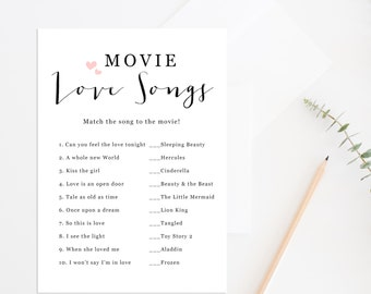 printable bridal shower games guess the movie love songs movie love songs printable bridal shower game