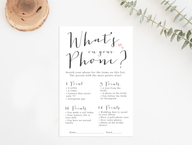 7314286f4a8 What s On Your Phone Printable Printable Bridal Shower