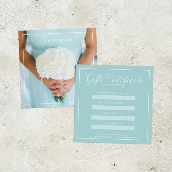 Editable Photography Gift Certificate Photography Gift Card Etsy