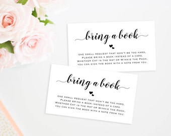 Baby Shower Printable, Baby Shower Bring a Book Card, Bring a Book Instead of a Card, Bring a Book Baby Shower Insert