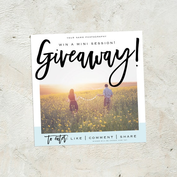 photography giveaway template social media template contest etsy