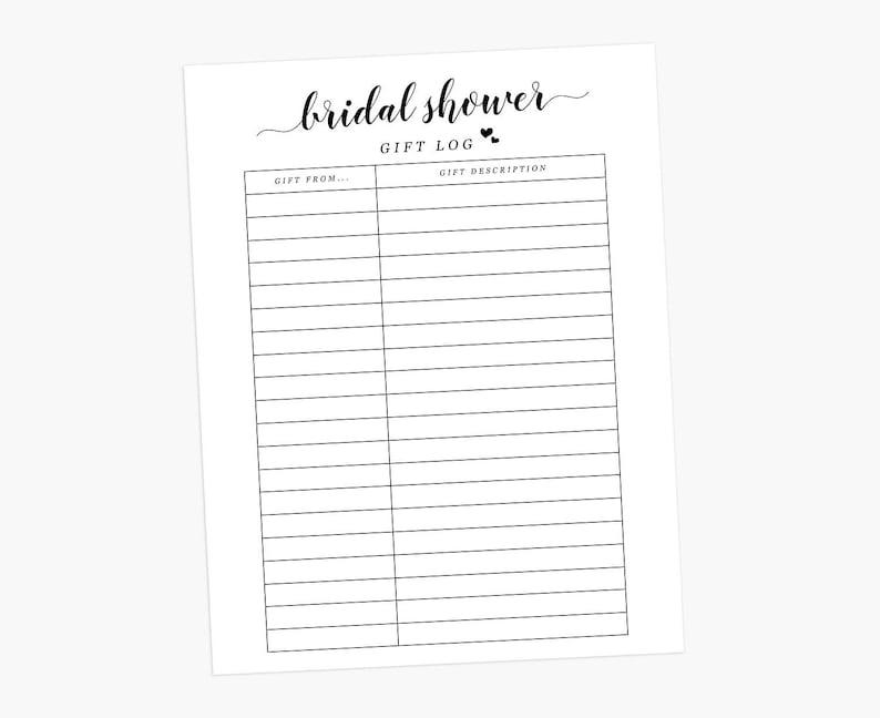 e75411a8e16a Bridal Shower Gift Log Bridal Gift Tracker Bridal Shower