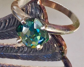 69ee0e4d0 Rose Cut Cushion Green 2 Carats Moissanite Sterling Ring Size 6