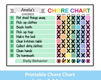 picture regarding Printable Chore Chart for Kids named Young children chore chart Etsy