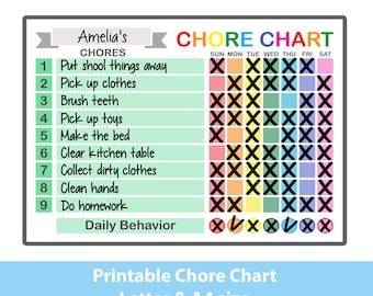 image relating to Printable Chore Charts for Multiple Children called Youngsters chore chart Etsy