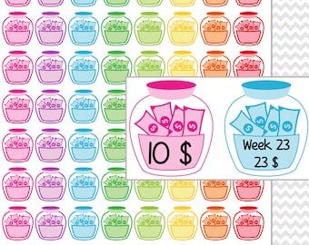 Save Money Planner Stickers Printable. Save Up Weekly Money Stickers. Save Money Calendar Stickers. Erin Condren EC ECLP FiloFax Kiki Mambi