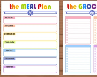 weekly menu planner etsy